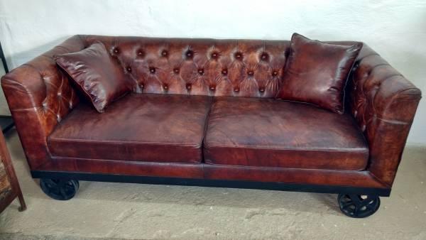 Sofa Couch Leder Wohnlandschaft auf Räder 2 Sitzer braun Industrie Design Loft