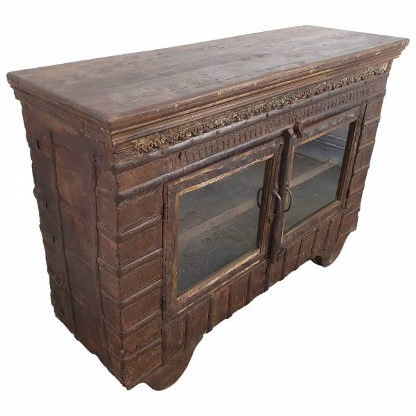 Kommode Sideboard Vitrine Schrank Vintage Massivholz Altholz 2 Türen Unikat 1