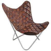 Butterfly Chair Sessel Design Lounge Stuhl Vintage echt Leder braun Loungesessel