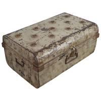Alter Blechkoffer antiker Metallkoffer beige 70 x 45 Vintage Shabby Chic Unikat 6
