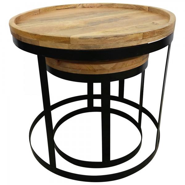 beistelltisch 2er set 60cm rund couchtisch mangoholz massivholz handarbeit 4251373300013 ebay. Black Bedroom Furniture Sets. Home Design Ideas