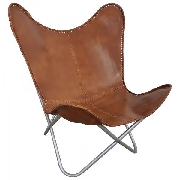 butterfly chair echt leder stuhl relax sessel braun vintage design loft lounge ebay. Black Bedroom Furniture Sets. Home Design Ideas