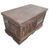 Truhe Kiste Holztruhe Box Massiv Hochbeinig Kassette Kolonial Handarbeit Unikat