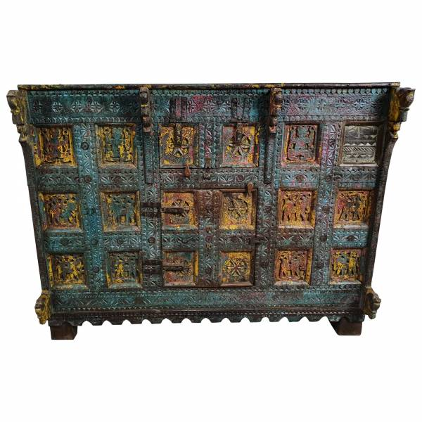Kommode Sideboard Damachiya Vintage Taste of India Alt Antik Altholz Unikat 3