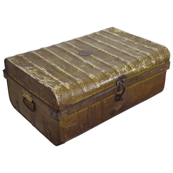Alter Koffer Metall Vintage Metallkoffer alte Kiste Metalllkiste shabby Unikat 10