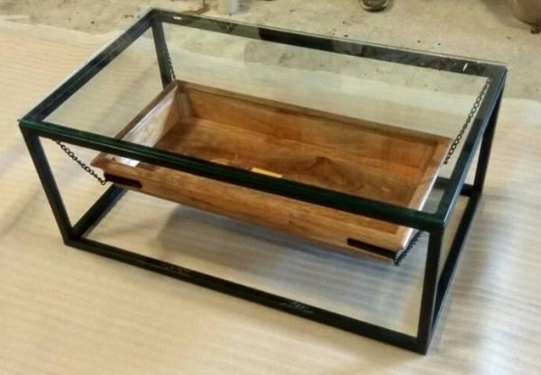 Couchtisch Lounge Tisch Filippa Kette Mango Holz Metall Gestell Industrie Design