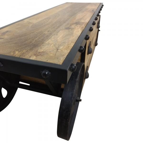 tv lowboard m bel mit r dern sideboard schrank mango holz industrial design loft ebay. Black Bedroom Furniture Sets. Home Design Ideas