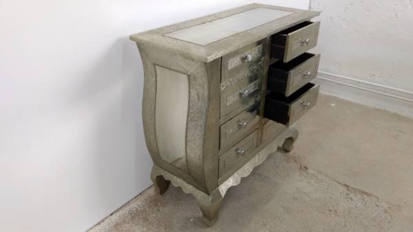 kommode schrank sideboard 8 schubk sten vintage silber patina alu pomp barock ebay. Black Bedroom Furniture Sets. Home Design Ideas