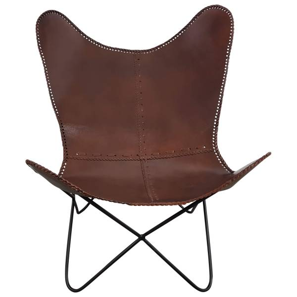 Lounge Sessel Leder Chair Retro Design Loungesessel braun Loungestuhl Butterfly