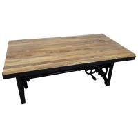 Couchtisch Plank Höhenverstellbar Kurbel Massivholz Industrie-Design Crank Table