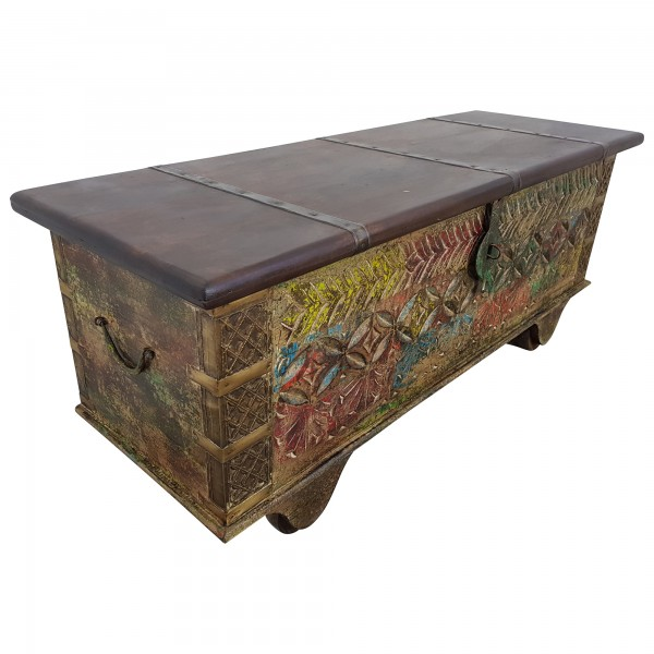 Truhe Kiste Holztruhe Vintage Massiv Box aus Altholz Antik Handarbeit Unikat 15