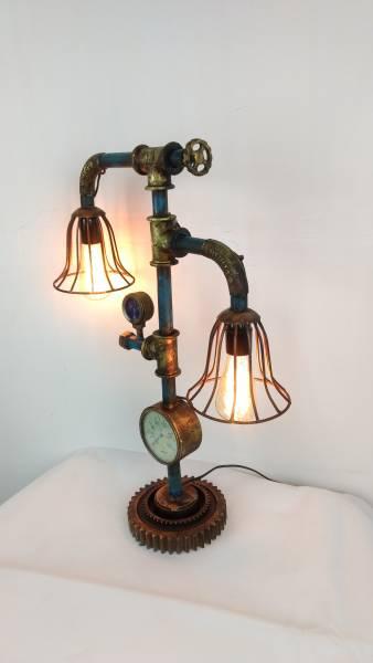 industrie design lampe aus wasserrohren leuchte pipe art steampunk retro fabrik ebay. Black Bedroom Furniture Sets. Home Design Ideas