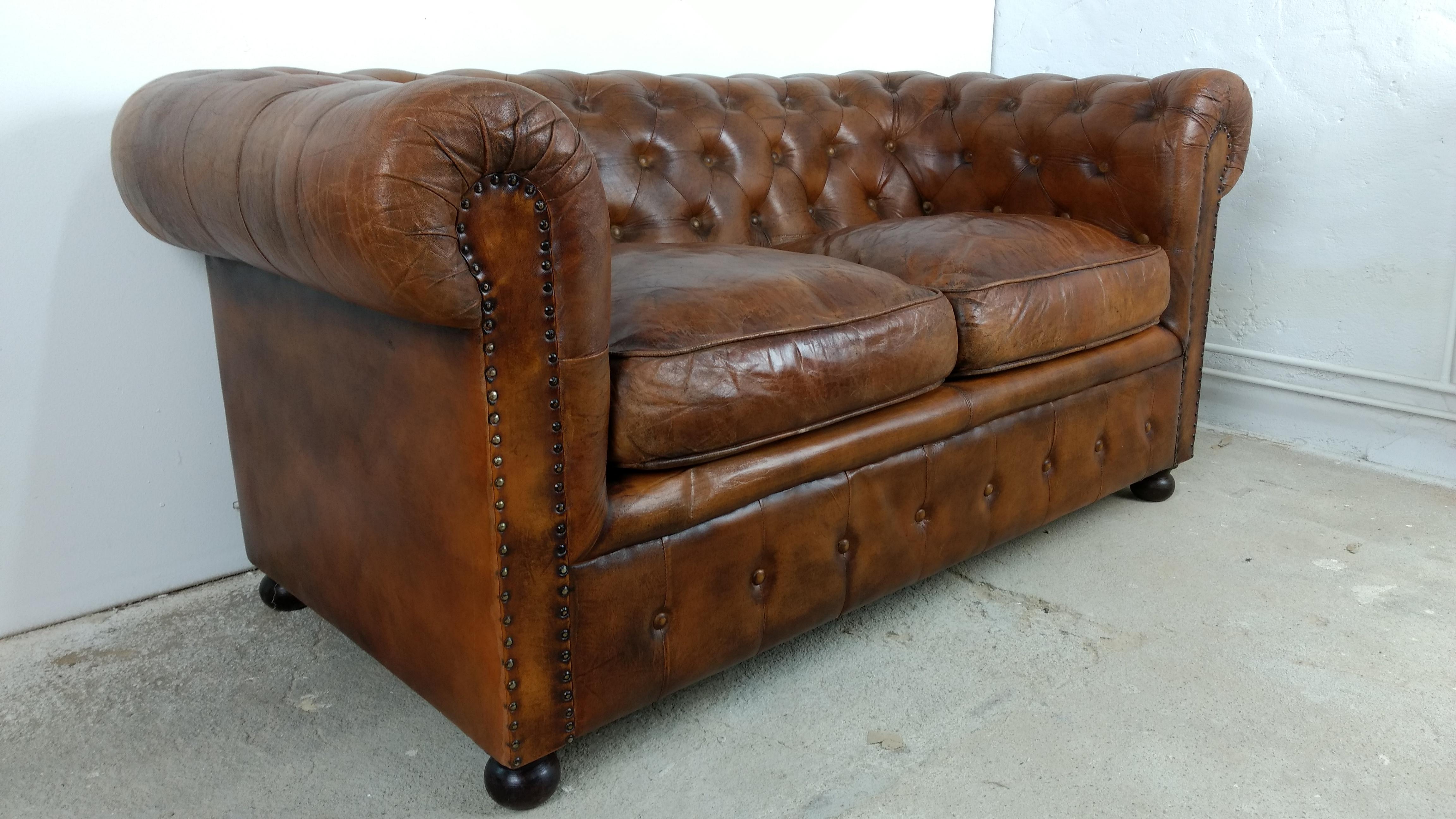 Sofa Couch Lounge Chesterfield 2 Sitzer Leder Antik Look Design Art
