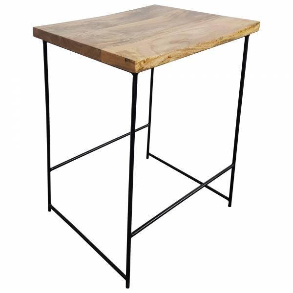 Barhocker Bar-Stuhl Tresenhocker Mango Holz Metall schwarz Hocker Lounge Design IT10068
