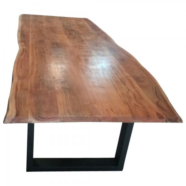 Esstisch Esszimmer Tisch Baumstamm Baumkante Akazie Massiv Holz Design