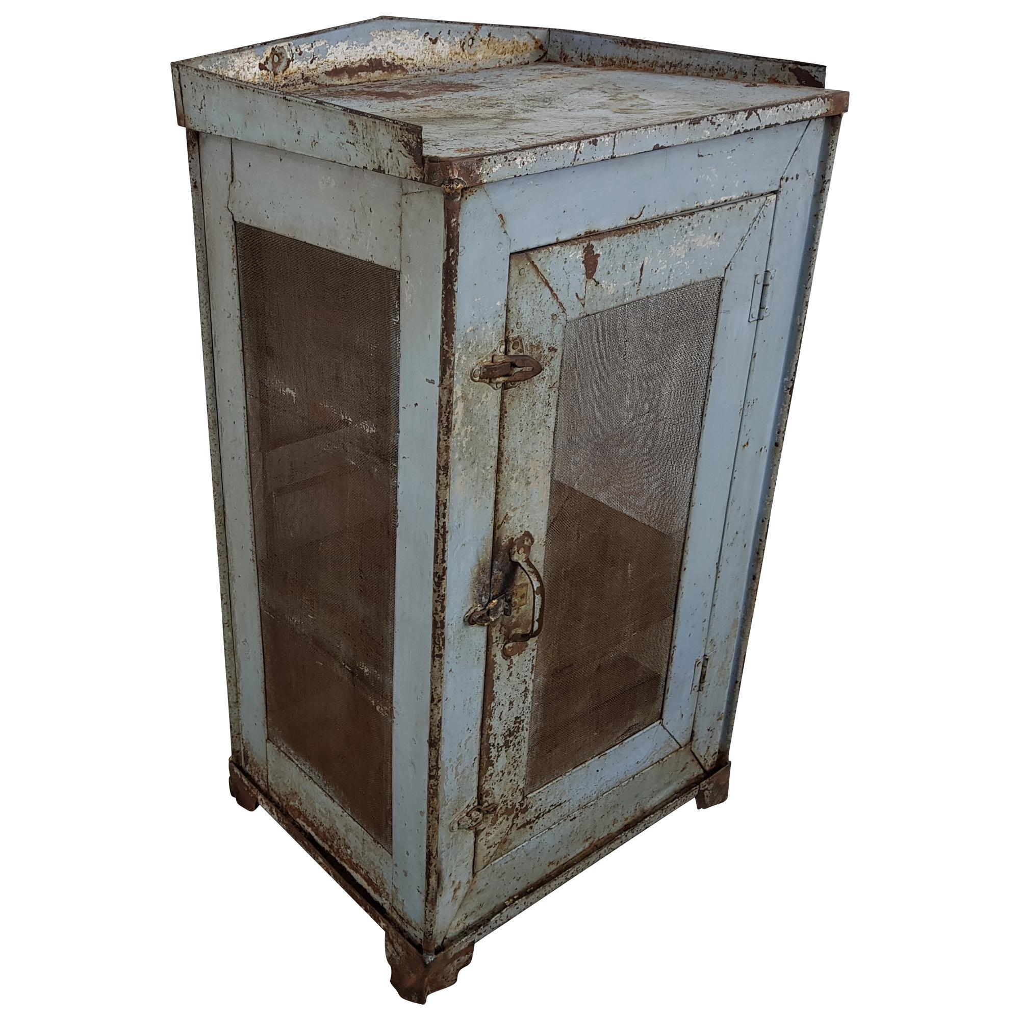 Kommode Anrichte Schrank Blau Gitter Industrial Vintage Chic Design