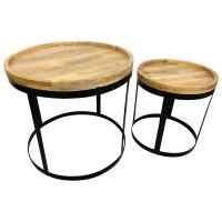 Beistelltisch 2er SET Ø 60 cm Rund Couchtisch Mango-Holz Massiv Möbel Handarbeit