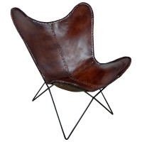Original Butterfly Chair Sessel Design Retro Stuhl echt Leder braun Loungesessel