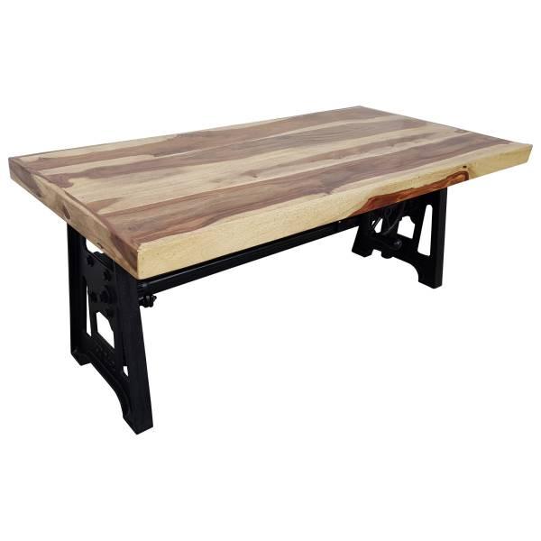Couchtisch Sheesham höhenverstellbar Kurbel Wohnzimmertisch Vintage Crank Table