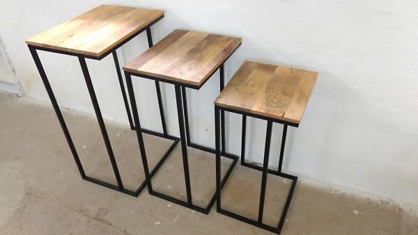 Mangoholz Massivholz Beistelltisch 3er SET Blumenhocker Metall Tische Handarbeit