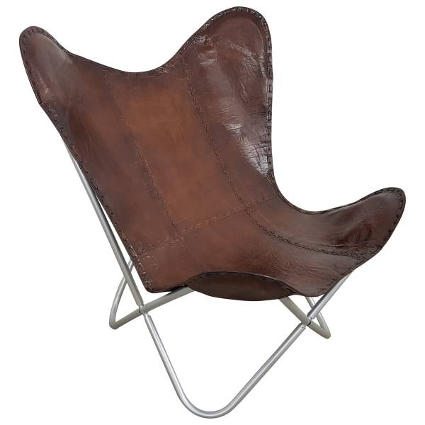 Butterfly Chair Sessel Design Lounge Stuhl glatt Leder braun Loungesessel