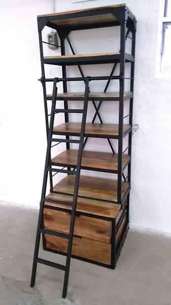 Bücherregal Holz-Regal mit Leiter Mango Metall schwarz Massiv Industrial Design