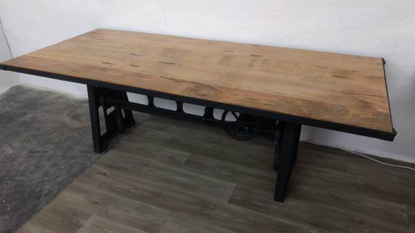 unikat 1 massivholz esstisch mango 235x100 industrial design crank dining table ebay. Black Bedroom Furniture Sets. Home Design Ideas