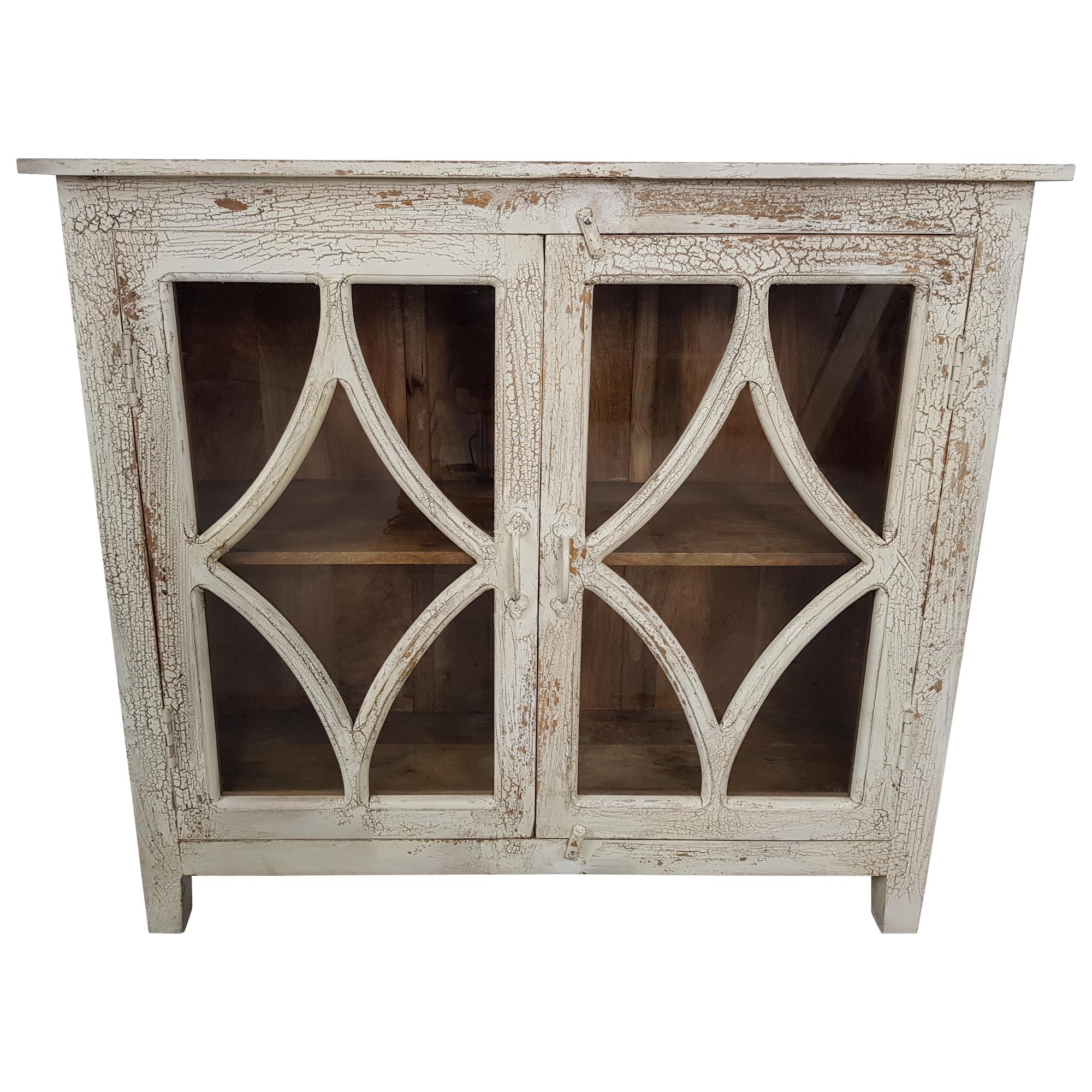 vorschau kommode anrichte vitrine schrank weiss massivholz vintage shabby chic unikat 4