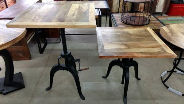 Stehtisch Bartisch Bistrotisch Tisch Höhenverstellbar 90 cm Massiv-Holz Crank