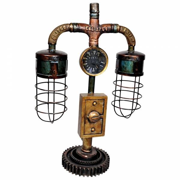Tischlampe Leuchte aus Metall Rohren Pipe Art Steampunk Industrial Style Fabrik