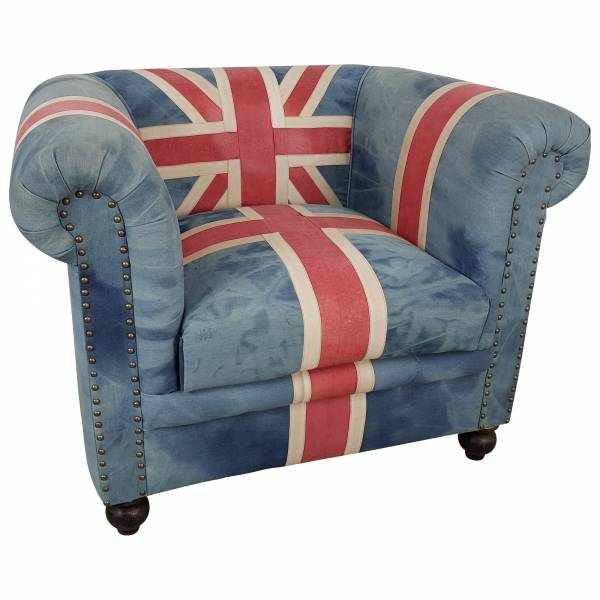 Clubsessel Polster-Sessel Lounge Union Jack UK Flagge Motiv England Chesterfield