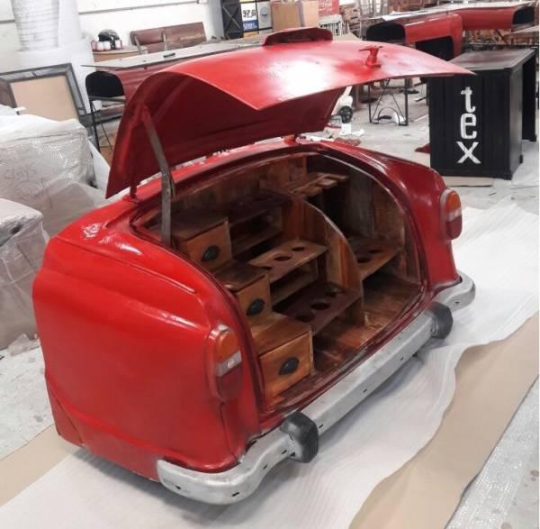 Auto PKW Bar-Schrank rot Klappbar Loft Vintage Industrie Industrial Design Heck IT10107