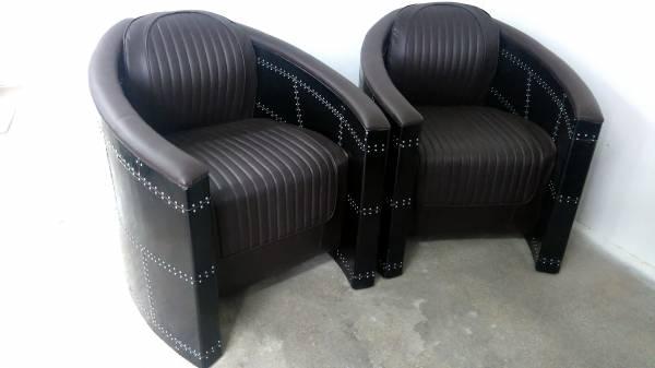 Clubsessel Loungesessel schwarz / Designsessel Pilotensessel alu Sessel Art Deco
