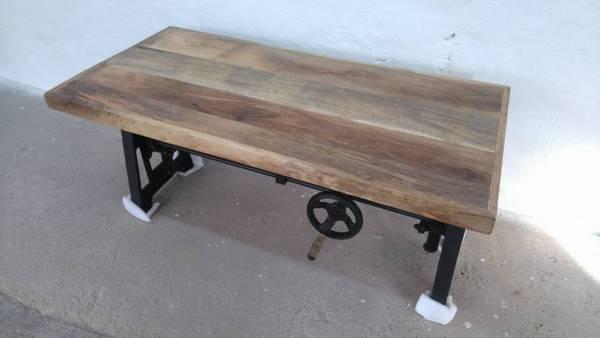 Couchtisch Mango Höhenverstellbar 45- 65 cm Industrie Design Crank Table 01