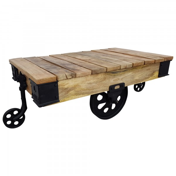 Couchtisch Loft Lounge-Tisch Räder Massiv Mango Metall Vintage Industrie Design