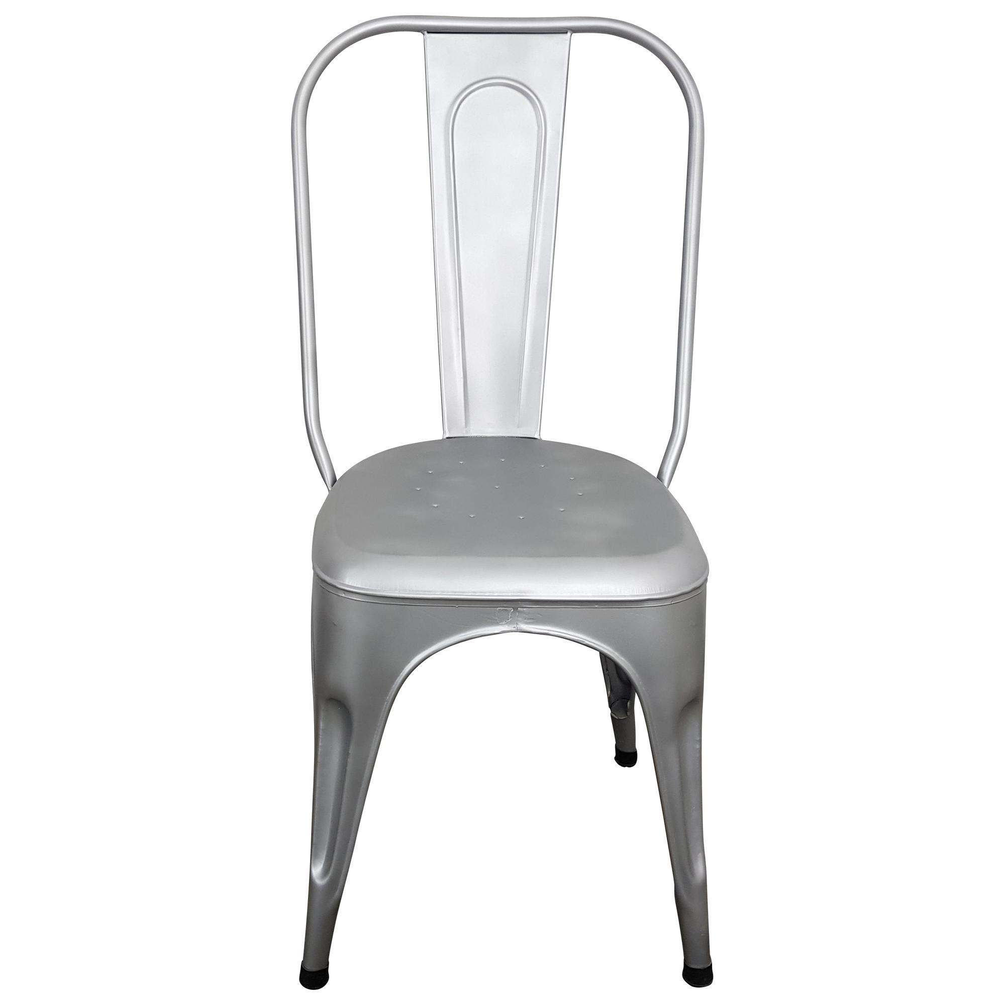 Stuhl Metall Industrie Design Silber grau stapelbar