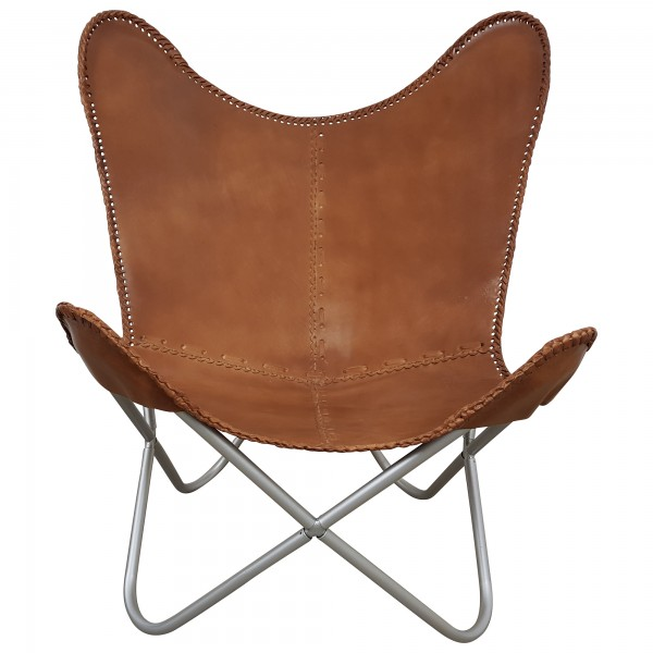 Butterfly Chair Design Vintage Sessel Lounge Stuhl echt Leder braun Loungesessel