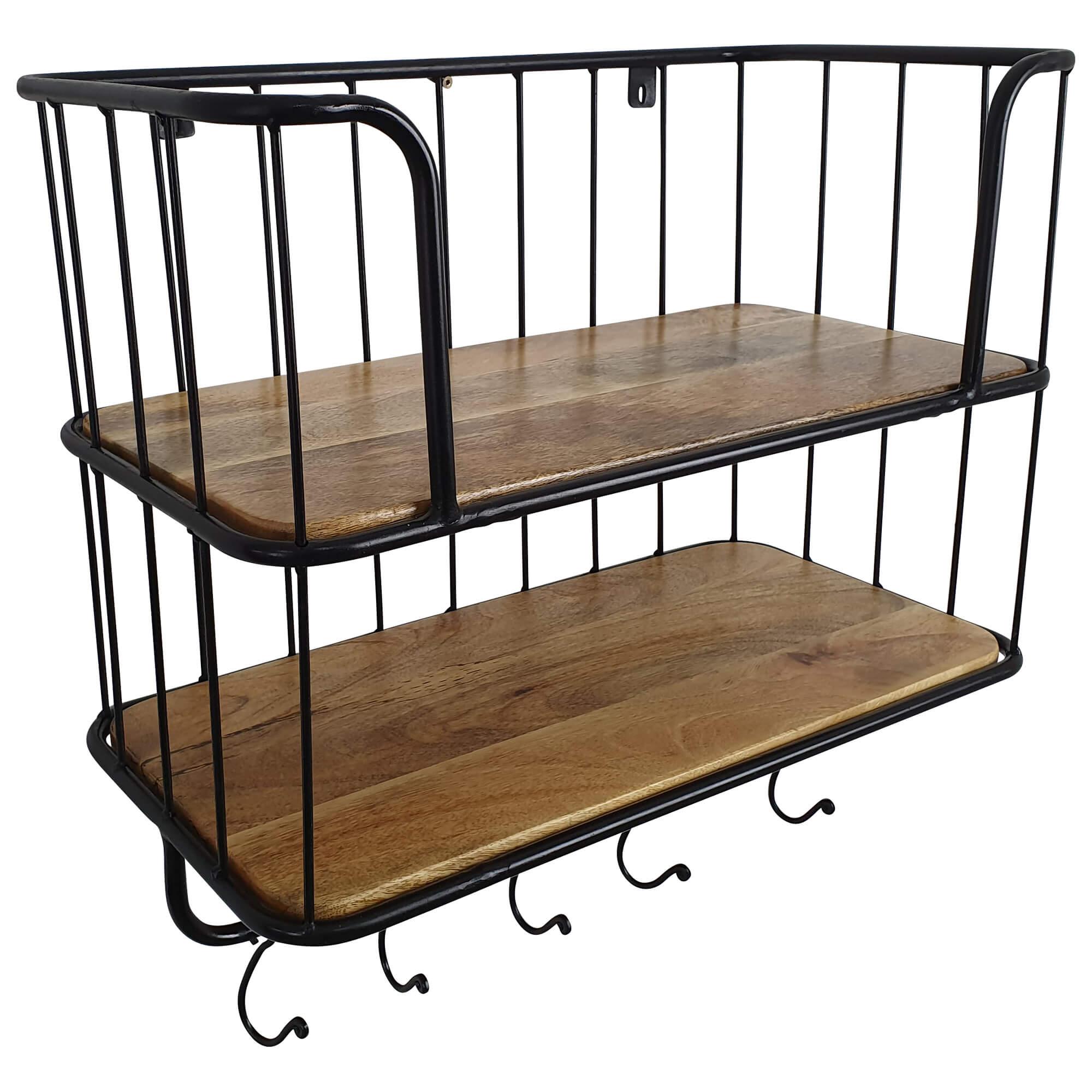 Wandregal Hangeregal Aus Holz Und Metall 2 Etagen Mit 5 Haken